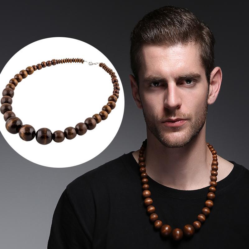 collier homme bois perles