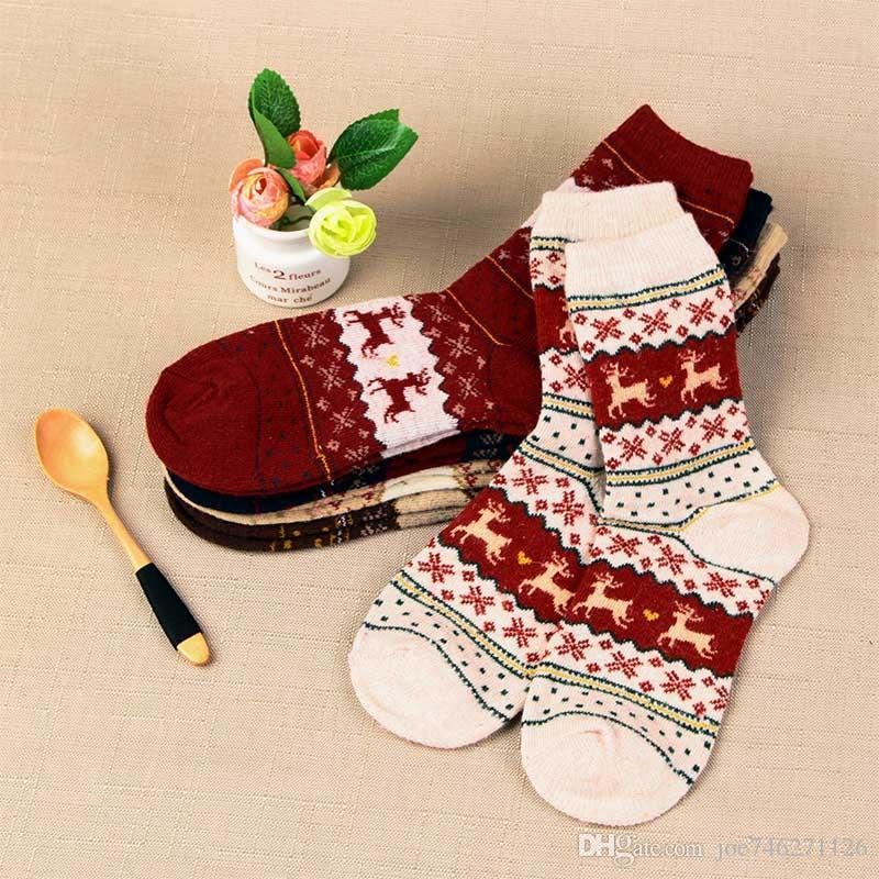 Free DHL Winter Women Socks Warm Wool Christmas Mid-calf Socks Woolen Snowflake Deer female thermal animal socks Girls Cute Meias
