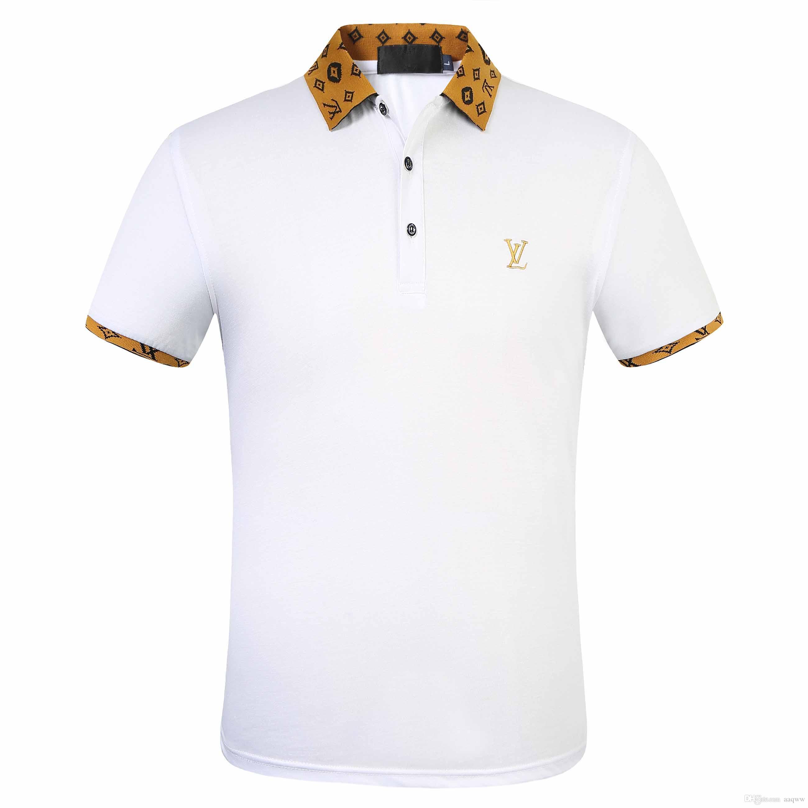 FF marca polo del progettista uomini casual maglietta ricamata Medusa cotone Maglietta polo High street collare di lusso camicie Polo
