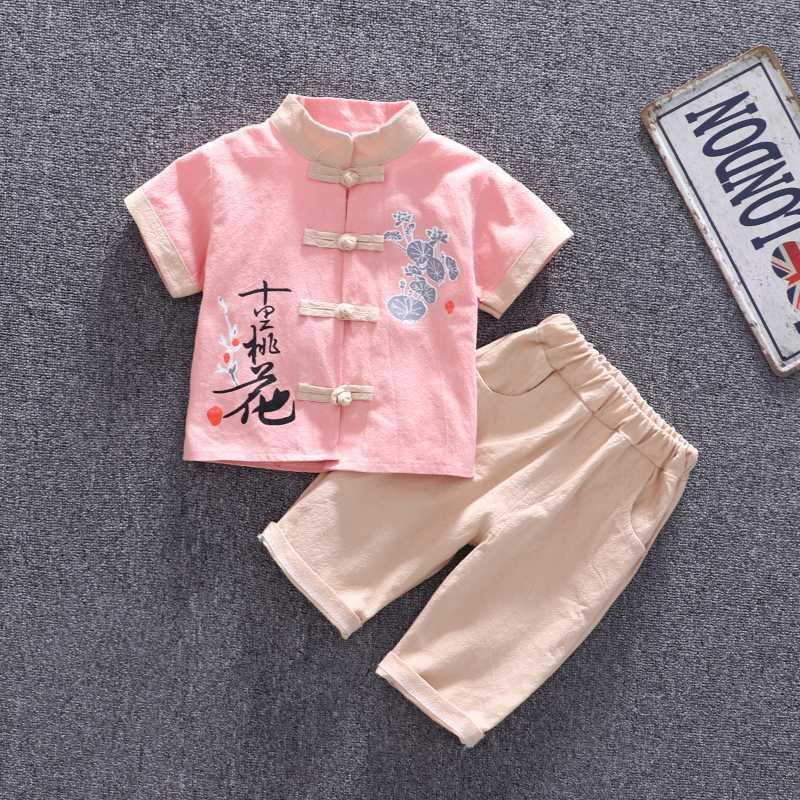 roupas infantis curtos da luva dos meninos terno estilo chinês