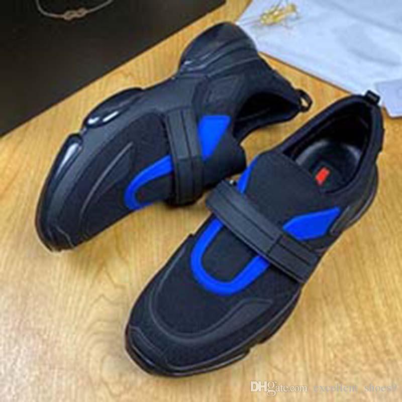 Plate-forme Chaussures de sport de femmes en cuir véritable mode haut Aide Chunky Formateurs respirant Lycra Wedge Sport Chaussures E03