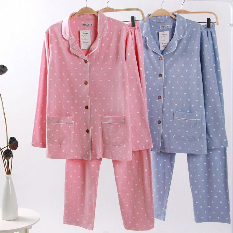 De camada única Casal de malha de algodão pijamas de duas peças conjuntos de homens e mulheres dos desenhos animados de impressão Wear Salão Início Suit Pijamas Mujer