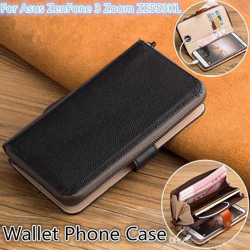 QX06 Couro Genuíno Multi-Função Saco Do Telefone Para Asus ZenFone 3 Zoom ZE553KL Caso Carteira Para Asus ZenFone 3 Zoom Carteira Caso Do Telefone
