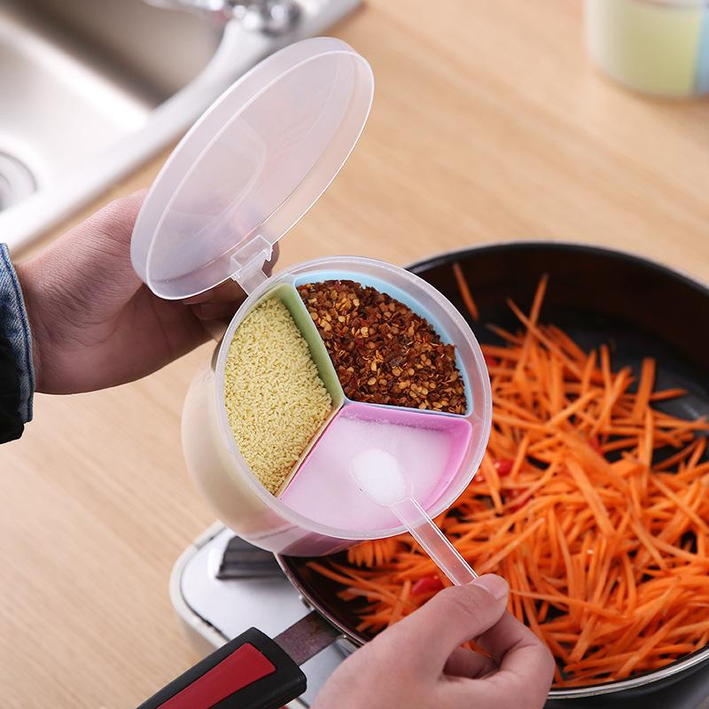 Ferramentas da cozinha Spice Garrafa tempero Box Kitchen Spice armazenamento de garrafa Jars Round 3 Grids Transparente sal pimenta cominho em pó Box DBC BH3579