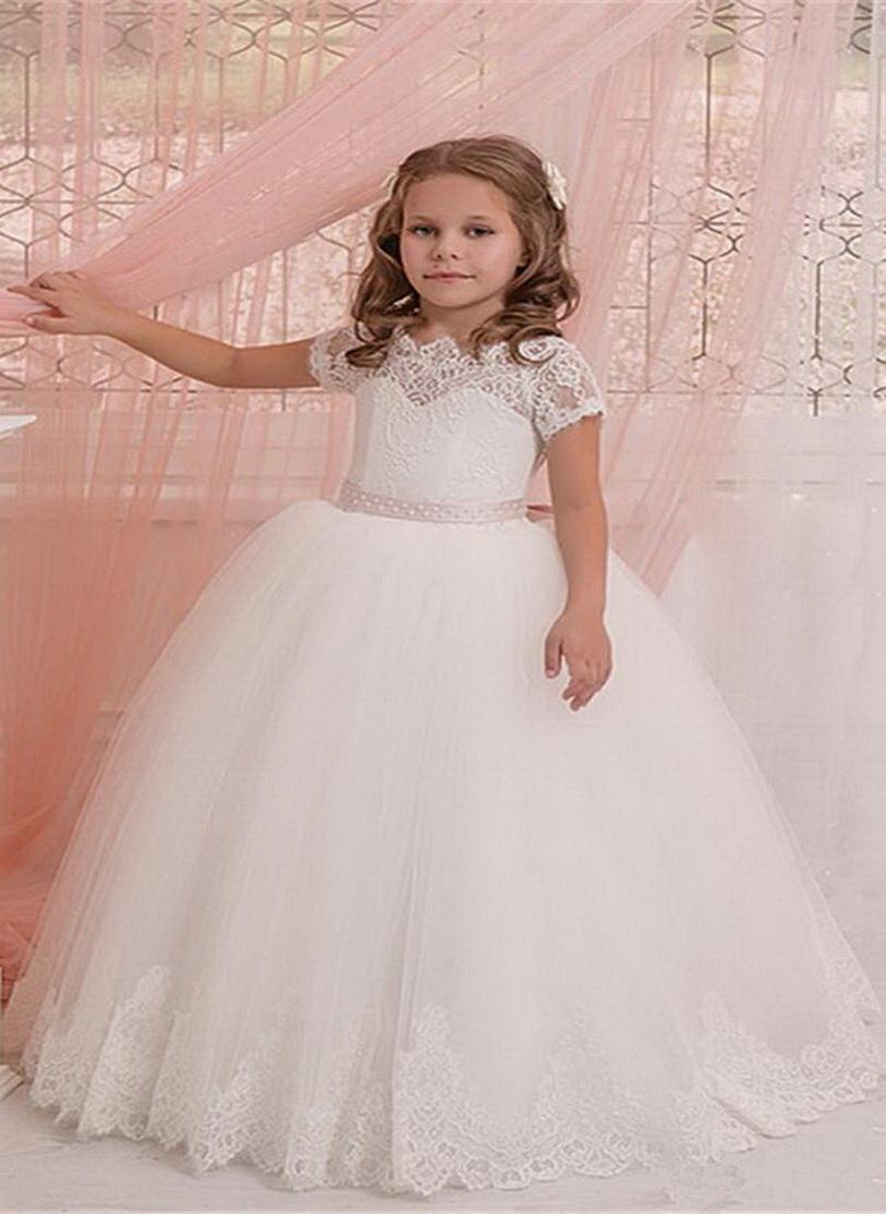Carino bianco elegante Flower Girl Dresses breve merletto del manicotto di Applique Fluffy di Tulle per il matrimonio principessa Kids abiti di compleanno