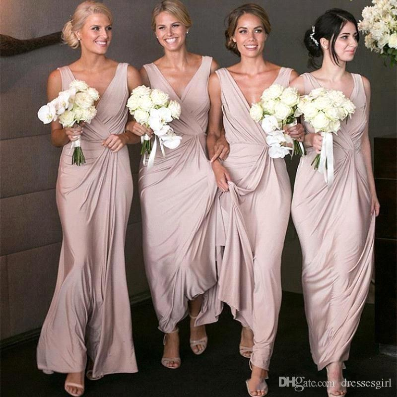 2019 Blush V Neck Bridesmaid Dresses Ankle Length Wedding Guest Gown Girls Long Party Dress vestido cheap