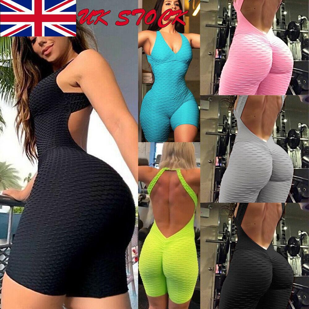 HIRIGIN nova Sexy Backless Playsuit calças justas aptidão macacões traje Yoga Suit Sport Gym One Piece Bodysuit Treino Para Mulheres Y200328