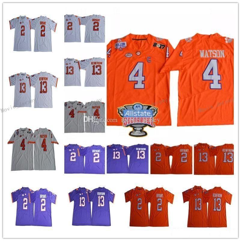 2020 NCAA Clemson Tigers College Mens 4 Deshaun Watson 9 Travis Etienne Jr. 13 Hunter Renfrow 16 Trevor Lawrence Football Jersey
