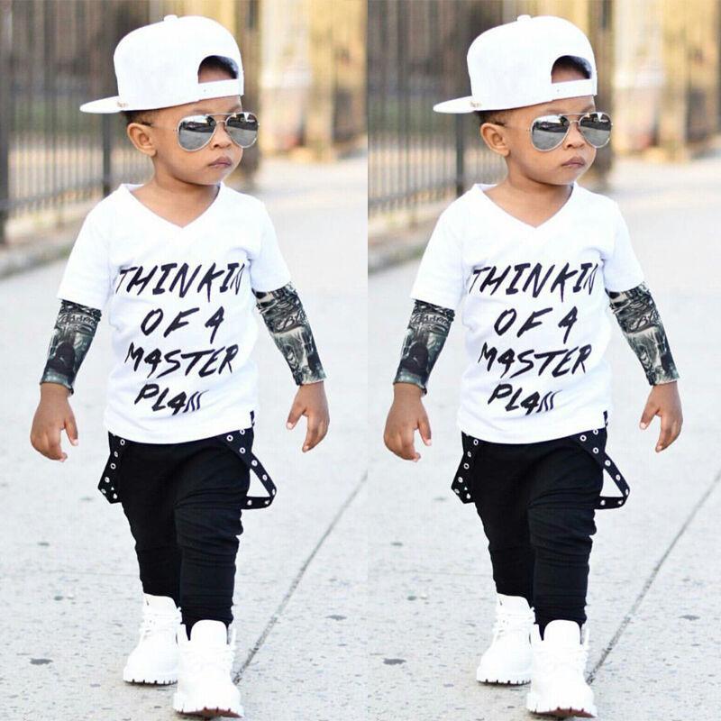 Neonato infantile del bambino bambino dei vestiti del ragazzo maglietta Tops + pantaloni lunghi 2pcs Abiti Set
