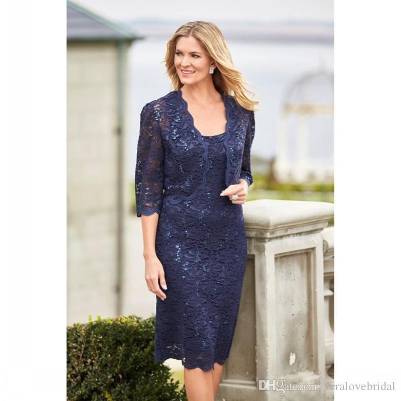Elegante marinho azul mãe vestidos de noiva com jaqueta lace joelho comprimento mãe da lantejoulas do vestido do noivo plus tamanho vestidos de convidado de casamento