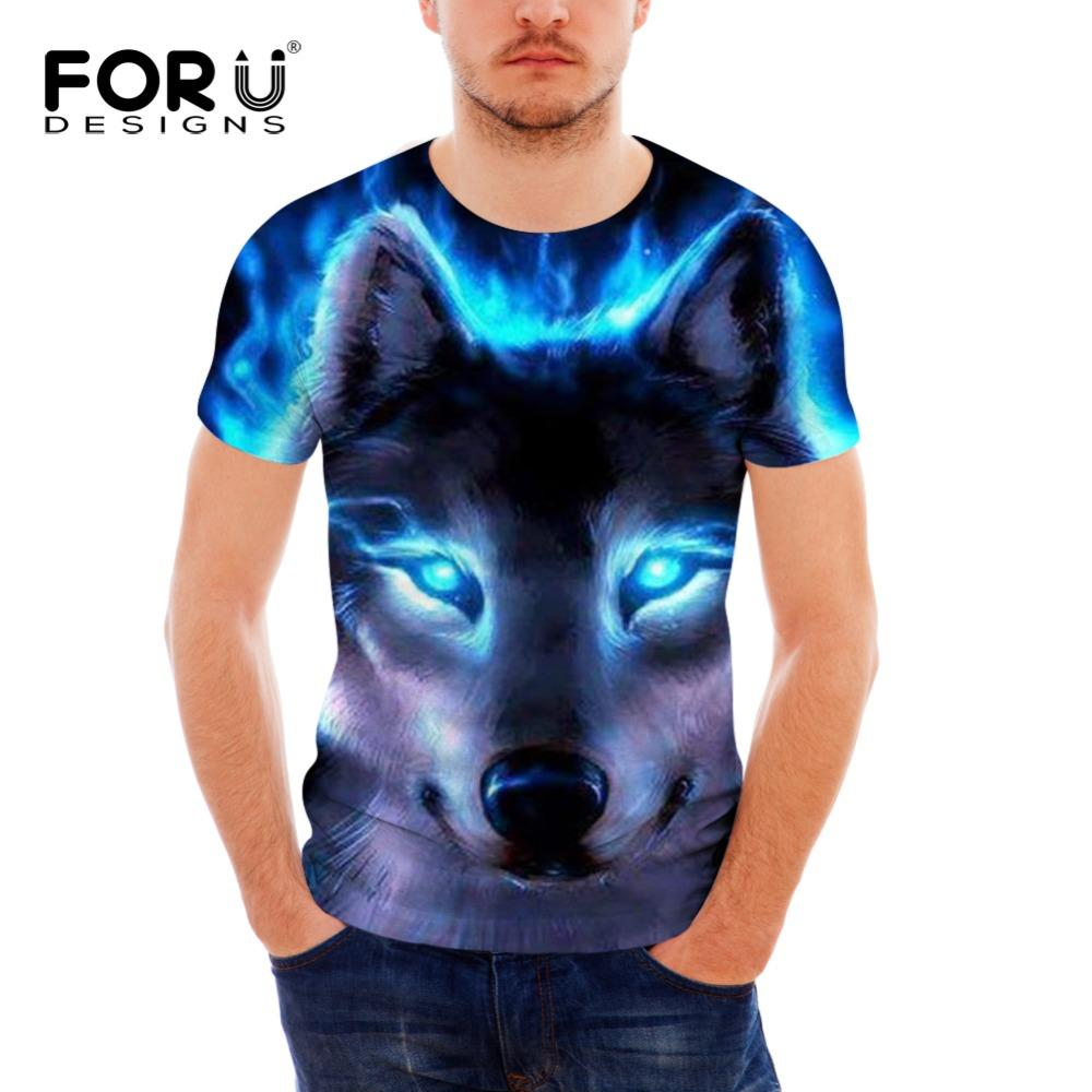 FORUDESIGNS Casual Men Summer T Shirts Cool 3D Wolf Printing Boys Streetwear T-shirt Bodybuilding Short Sleeve Tops Tee Clothing