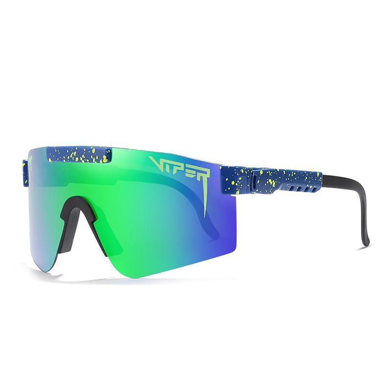 Marca originale oversize antivento occhiali da sole polarizzati per gli uomini / donne TR90 siamese lente a specchio UV400 Pit Viper