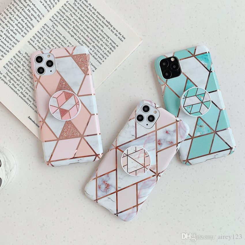 Soft TPU Plated Cover Phone Holder Stand Marble Case for iPhone 12 11 Pro XS Max XR X 6 6S 7 8 Plus