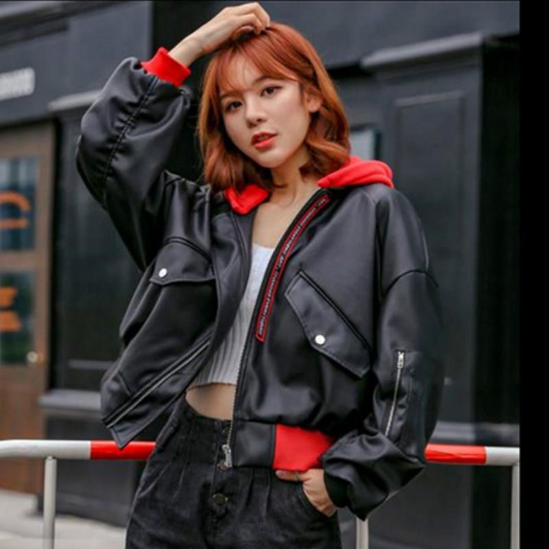 후드 Pu 가죽 자켓 여성 2019 패션 특대 여성 바이커 재킷 블랙 오토바이 코트 스트리트 가을 폭격기 착실히 보내다