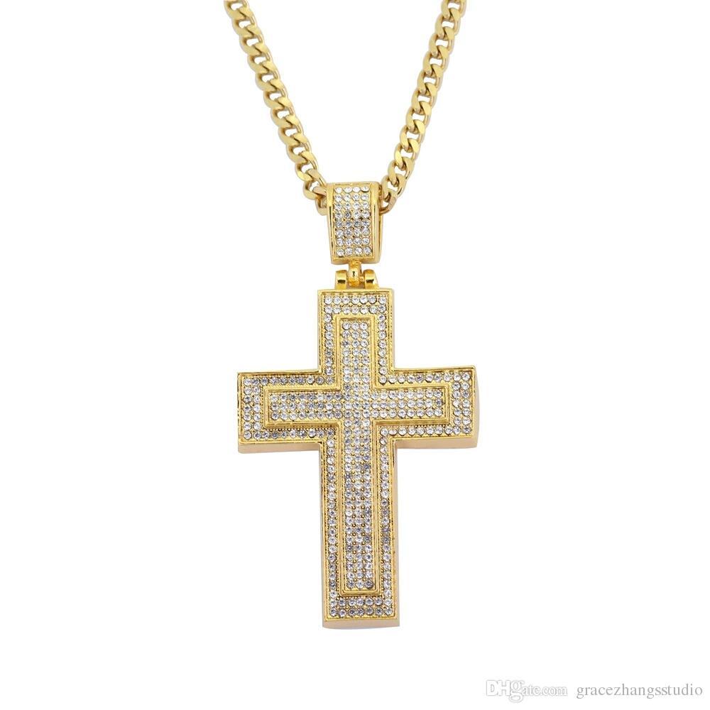 hip hop cross diamonds pendant necklaces for men women Religious golden luxury necklace Stainless steel Cuban chain Christian jewelry