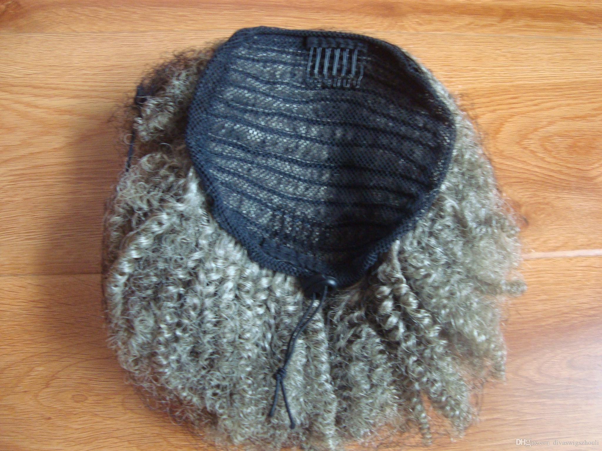 Gris pieza de cabello clip de cola de caballo updo 4c afro afro en gris el pelo humano extensión del pelo rizado rizado cola de caballo de plata