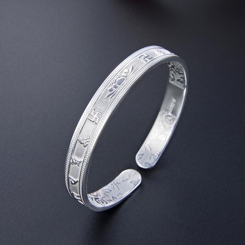 Factory Direct S999 argento piedi Buddha stampato Lotus Aperto braccialetto Moda Donna Invia mamma regalo argento Sterling Bracciale personalizzato