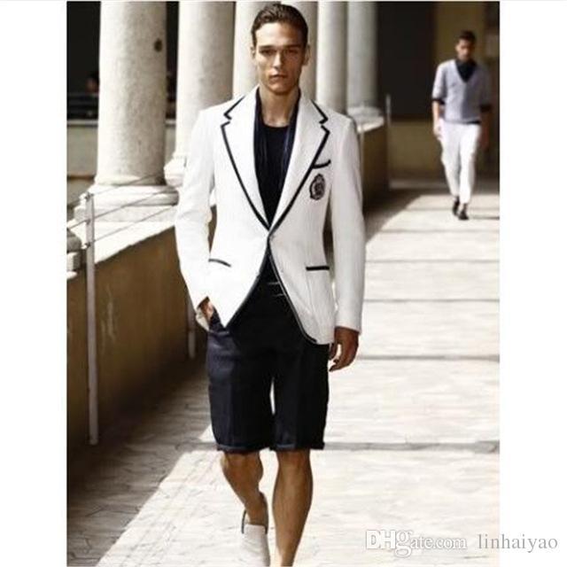 Vestiti Eleganti Sportivi.Acquista Vestito Estivo Elegante Bianco Da Uomo Corto Nero Pant