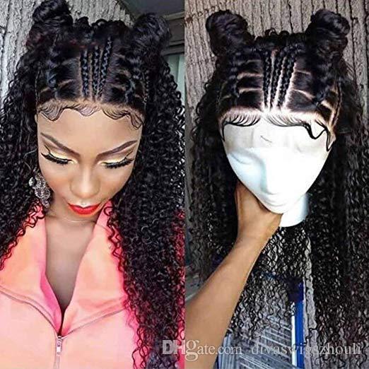 Perruques frontales en dentelle courtes pour les femmes noires perruques brésiliennes de vague profonde sans colle perruques frisées humaines avec bébé perruque avant de dentelle de densité 180%