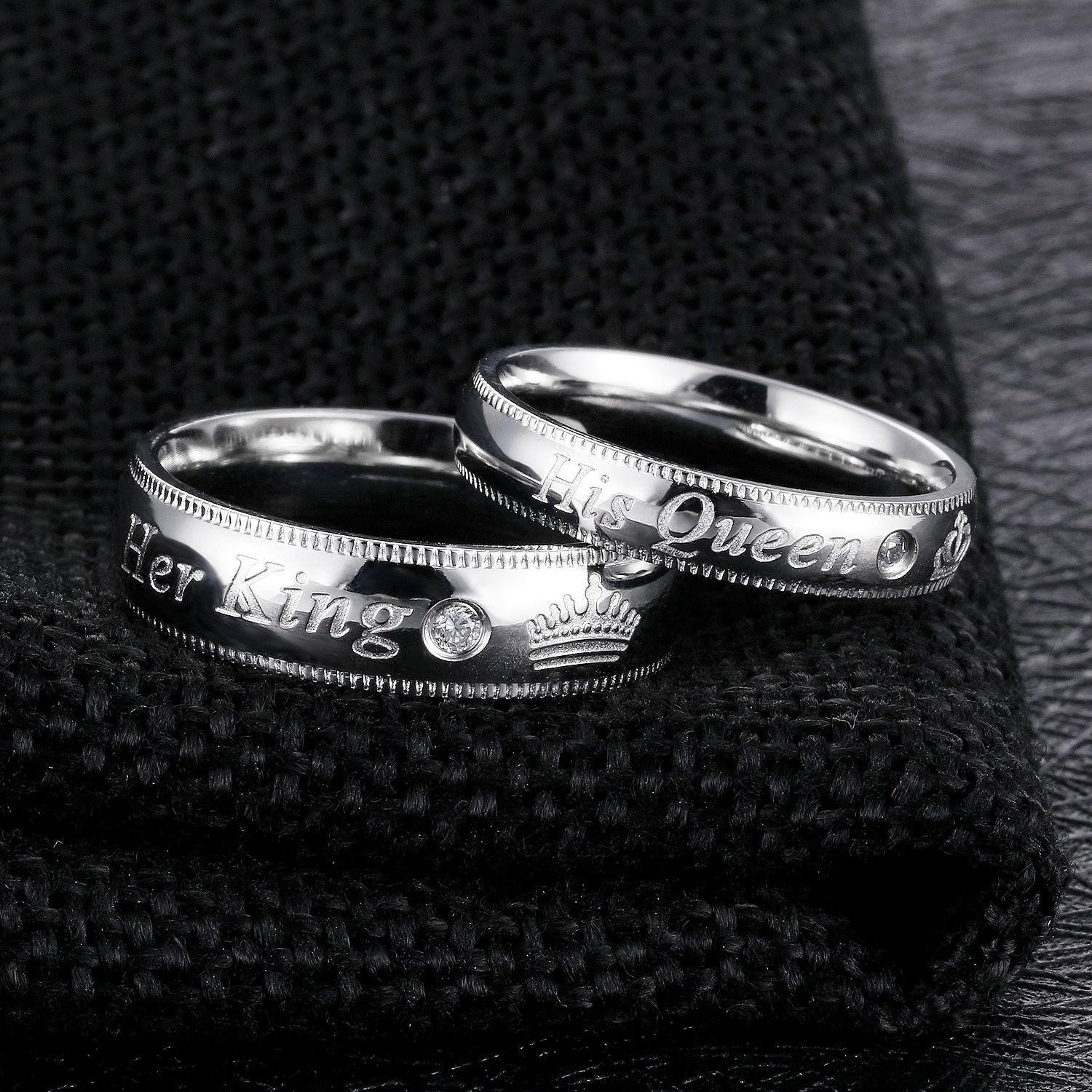 2019 New her King his Queen Printed Titanium Steel Couples Ring