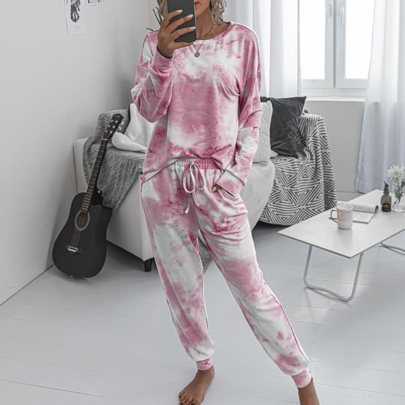 2020 Kadınlar Seti Batik Uzun Kollu Üst Gömlek O Boyun Ve Pantolon Eşofman İki Adet Set Casual Kıyafet Lounge Giyim Spor