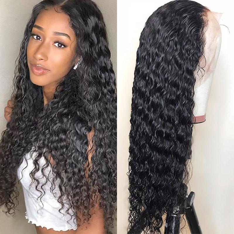 """Perruques frisées profondes 10A cheveux humains 360 pleine dentelle couleur naturelle cheveux humains perruques 8 """"-24"""" pouces bouclés brésilien péruvien indien"""
