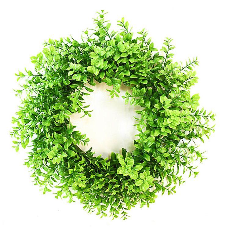 Rotondo foglie verdi artificiali Corona Corona di legno di bosso per porta finestra frontale Decorazioni per feste, uso interno / esterno Supporto all'ingrosso