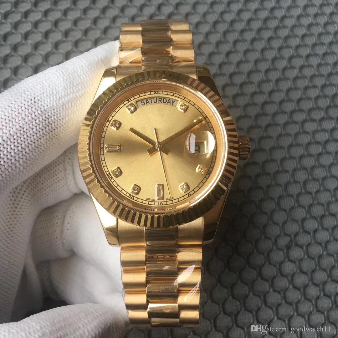 CALIENTE WholesaleHOT hombre 40MM mecánicas venta reloj Día Fecha relojes de acero inoxidable bisel de acero inoxidable relojes del deporte de la correa