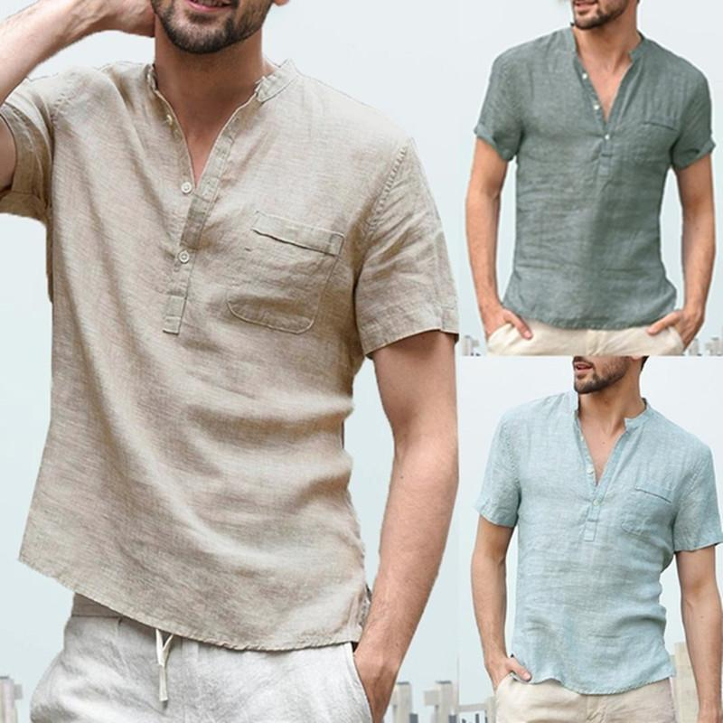 Лето Mens конструктора хлопка Смешать льняные рубашки сплошного цвета Печатного Mandarin Collar Карманного Короткий рукав Повседневной мужскую одежду