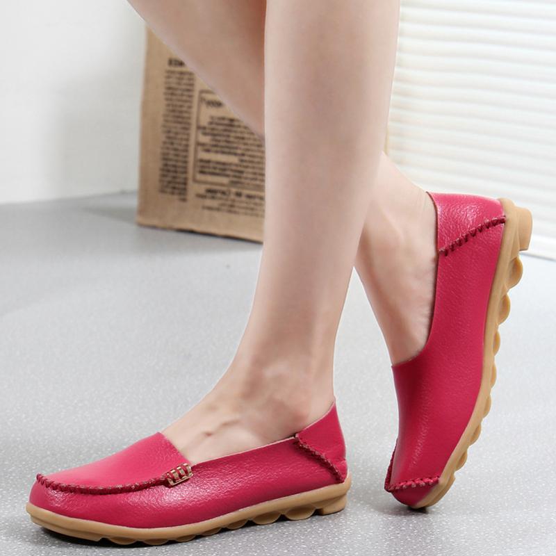 Wohnungen Frauen klassische echtes Leder-Ballerinas Weibliche Loafers Schuhe Frauen Slipony flache Ferse-Schuh-Damen-Freizeitschuhe