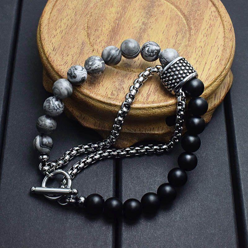 Plan pierre naturelle strand femmes perles hommes Bracelet wrap en acier inoxydable Bracelets Homme bijoux bracelet oeil Hologram Tiger