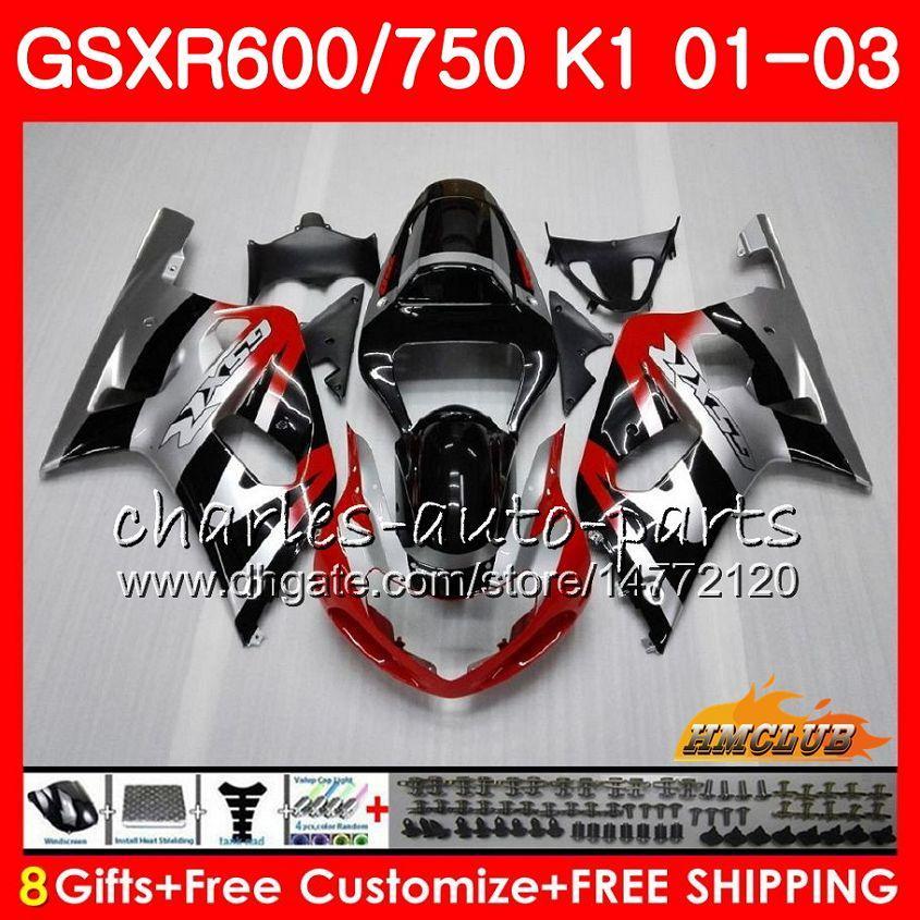 8Gifts Body for Suzuki GSX-R750 GSXR 600 750 GSXR600 Röd silver Blk 01 02 03 4HC.5 GSXR-600 K1 GSX R750 GSXR750 2001 2002 2003 Fairing Kit
