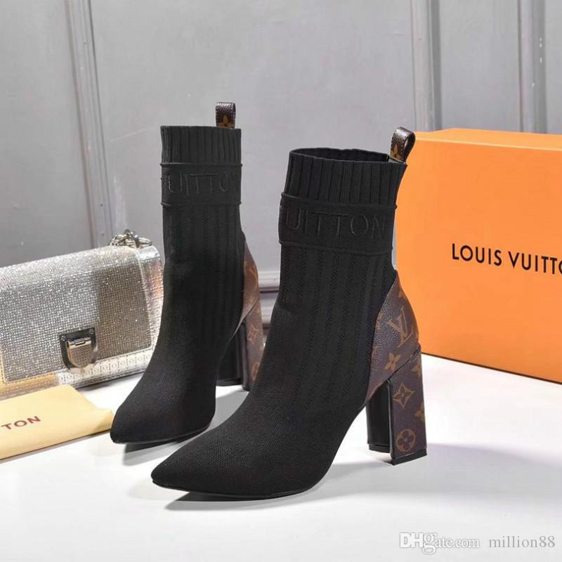 Последние осень и зима высокие каблуки высокое качество диких сапоги дамы повседневная обувь классическая мода эластичные носки ботильоны
