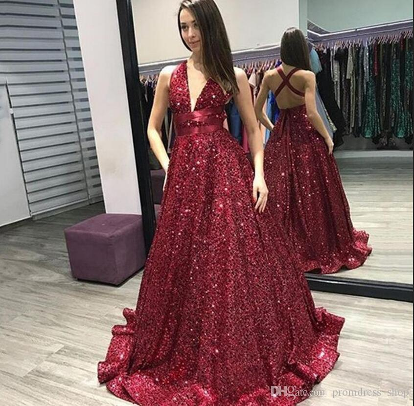 Fashion Sexy Dark Red Evening Dress 2020 New A Line Sleeveless Floor Length Sparkly Sequins Prom Gowns Plus Size Summer Party Dresses