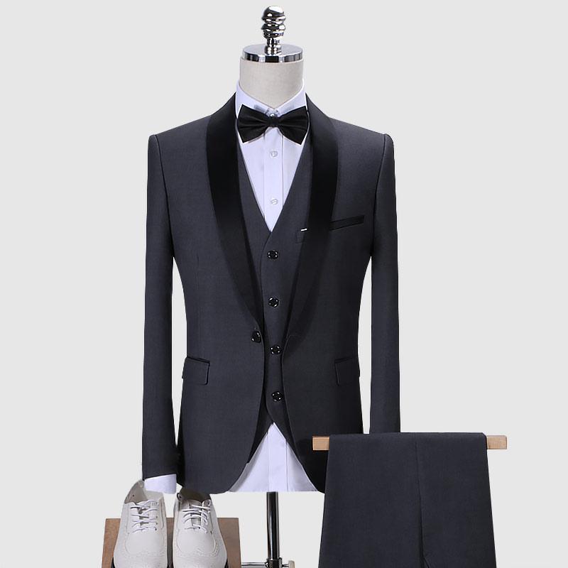 Herbst Herren Kleid 3 Stück Slim Design Blazer Jacke mit Hosen Weste asiatische Größe S - 6XL Hochzeitsbankett Smoking Anzug