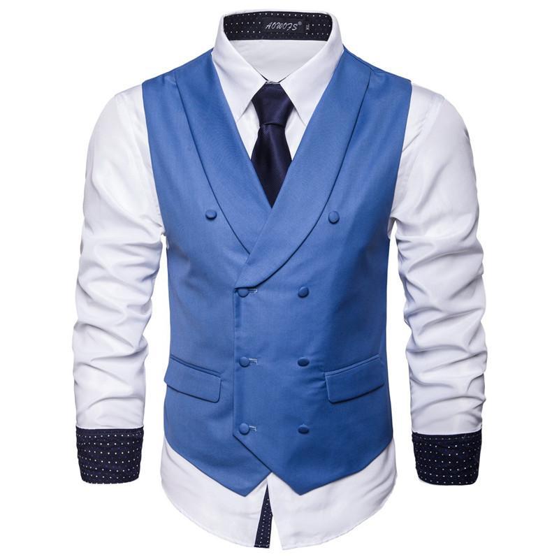 Мужские жилеты мужской жилетной костюм формальный пиджак двубортный осложневый воротник твердого вечеринка платье мужчины S-5XL жилет