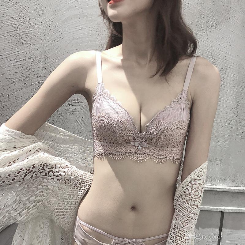 Set Underwear Mulheres Lace Bra Sets Breve Sexy Bra seamless floral bordado Bralette engrossar pequena Moda Lingerie