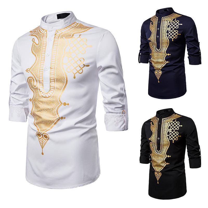 Şık Erkek Gömlek Afrika Baskılı dashiki Elbise Gömlek 2019 Dar Kesim Tribal Çingene Etnik Gömlek Erkekler Uzun Kollu Afrika Giyim