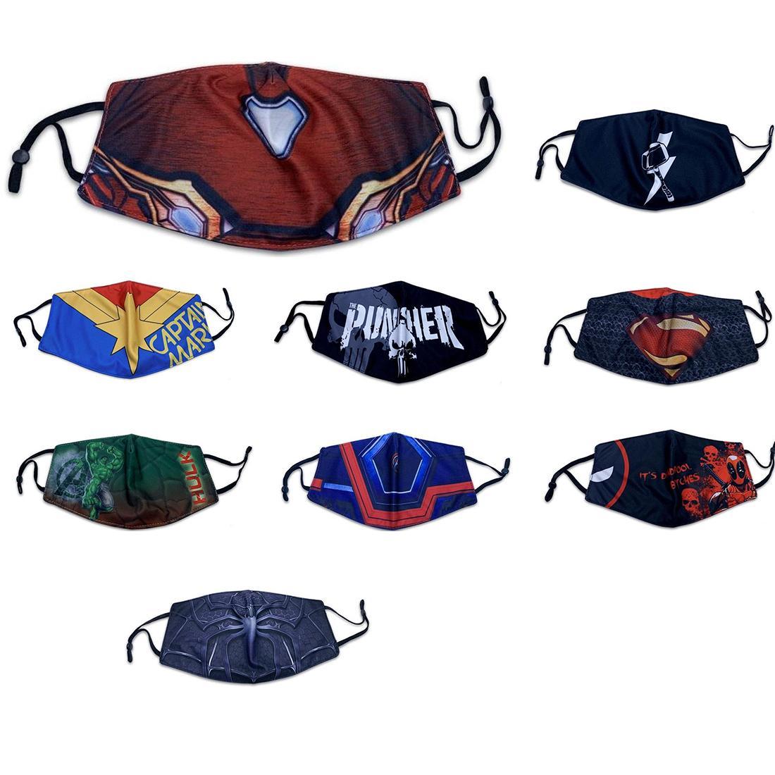 progettista della maschera di protezione maschere Adulti protezione cavalcata nuovo Spiderman Batman supereroe Captain maschera ameican punire Deadpool seta del ghiaccio di estate