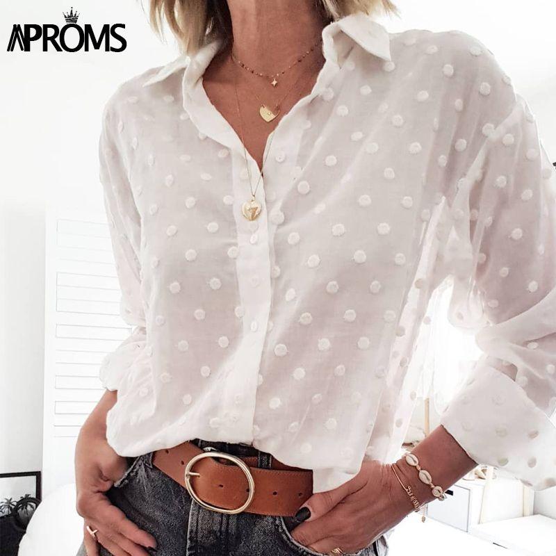Aproms Vintage Pois nappa bianca Camicette Camicie Donna 2020 Long Beach maniche tunica camicia in chiffon elegante casuale Top Female