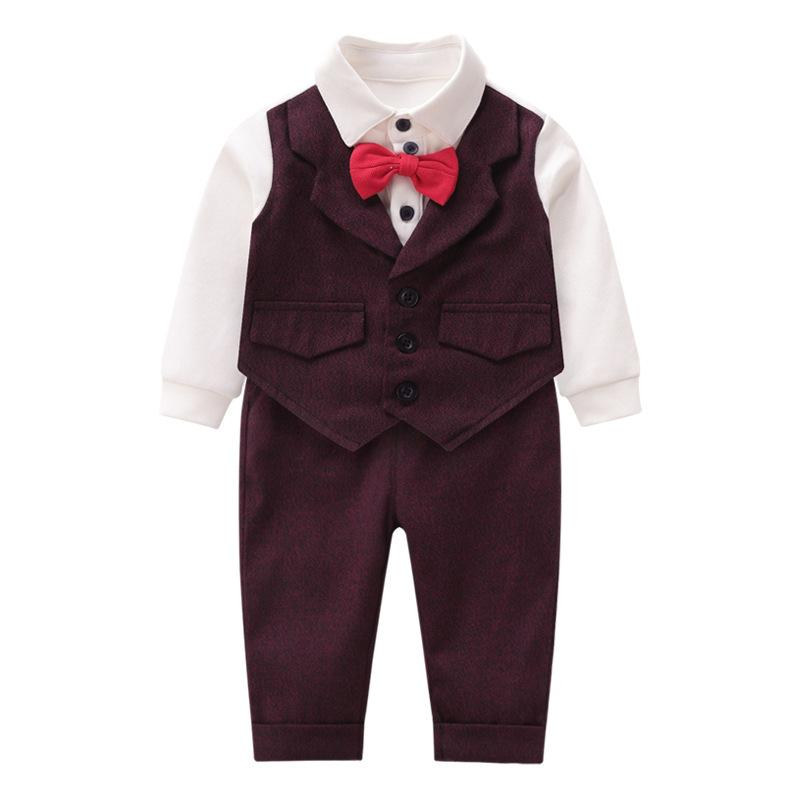 Autumn and winter newborn baby clothes bow tie vest children's clothing baby gentleman romper dress explosion