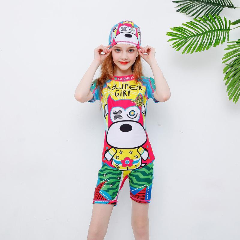 Mayo İçin Kız Çocuk Swim Cap CUHK Pantolon Kız Çocuk Giyim getir 2019 Mayo Çocuk Kadın Bikini Sevimli Çocuklar