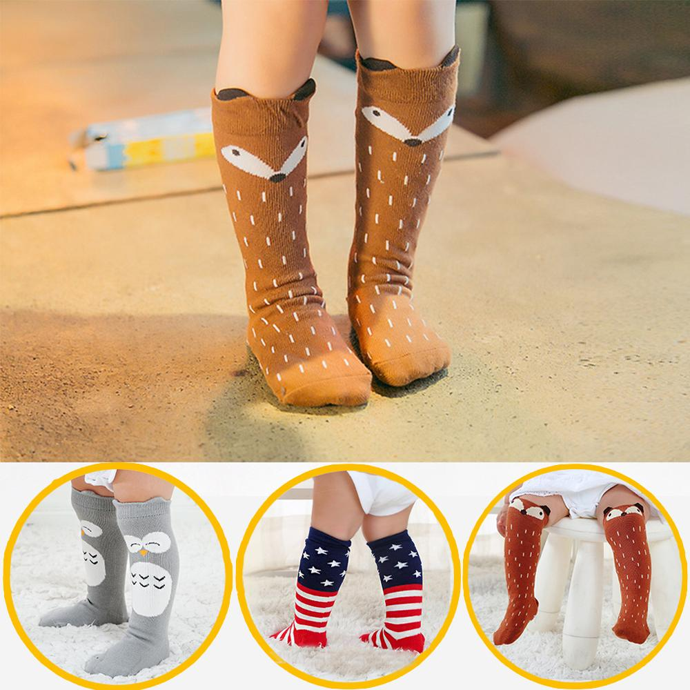 3 Pair Baby Kids Knee High Socks Girl Newborn Toddler Cartoon Animal Stocking