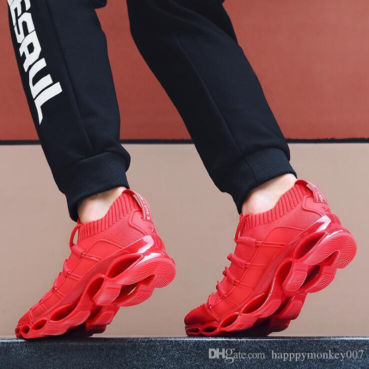 Tendencia las zapatillas de deporte 2019 de diseño de otoño Zapatos hoja de Guerrero hombres más calientes de la manera ocasional de los hombres de amortiguación de los zapatos corrientes de malla de viaje (7-13)