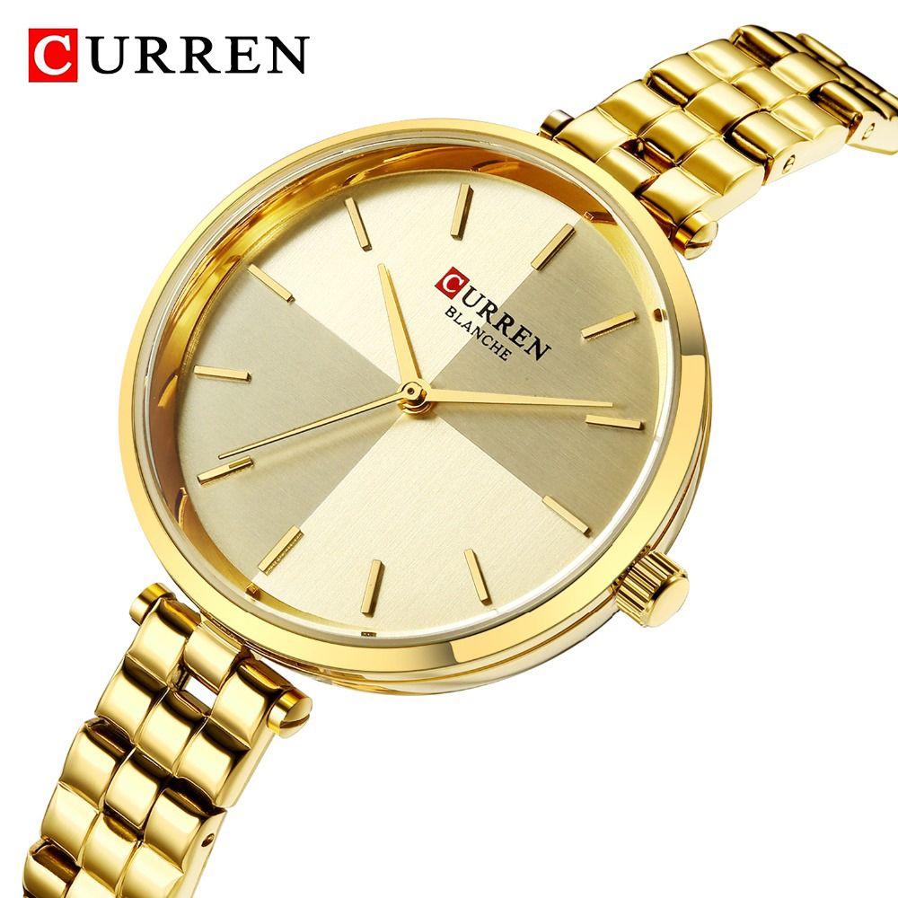 CURREN Brand New Watch Women's Bracelet Watches Steel Band Analog Quartz Wrist Watch Golden Clock Relogio Feminino 2019