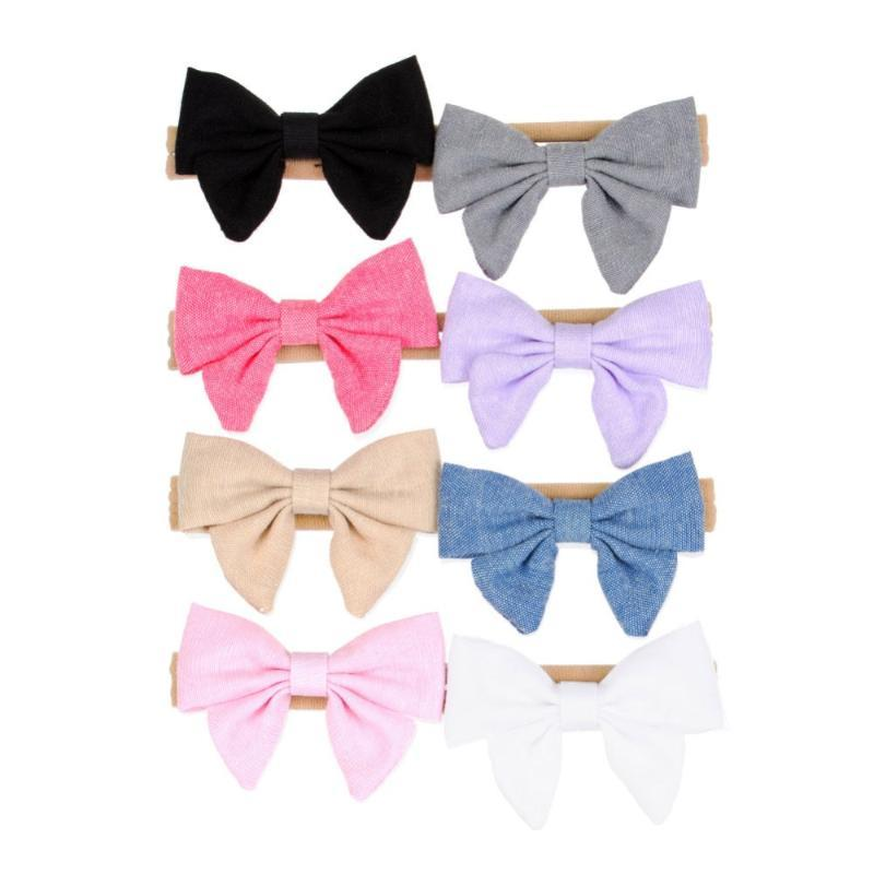 16pcs/lot Bow Baby Headband Fabric Nylon Hair Accessories Handmade Hair Bow for Newborn Photography Props 8 Colors HS042