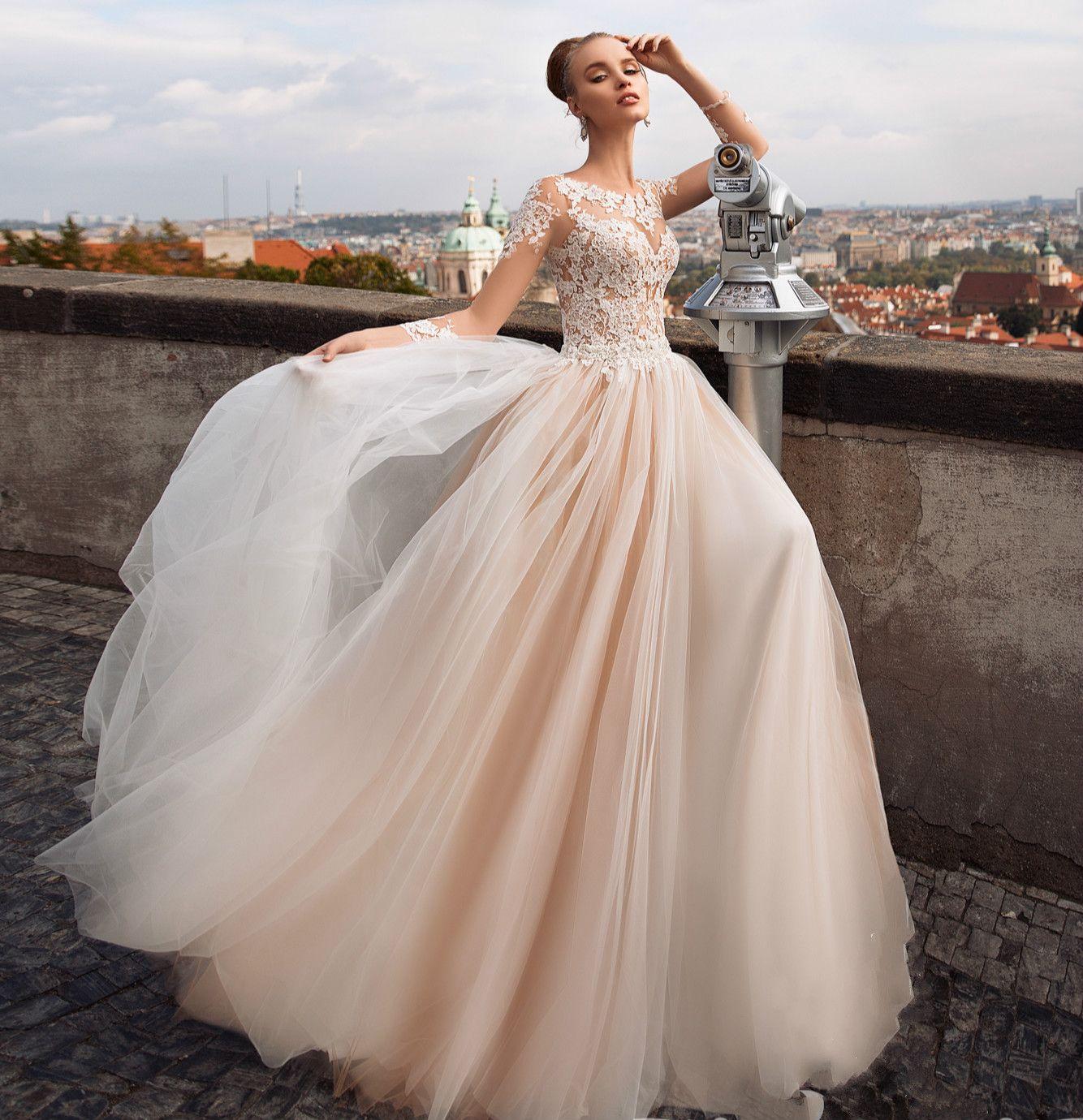Gorgeous New Design Long Wedding Dress 2020 Jewel Neck Long Sleeves A-Line Chapel Train Appliques Tulle Bridal Gowns Vestidos