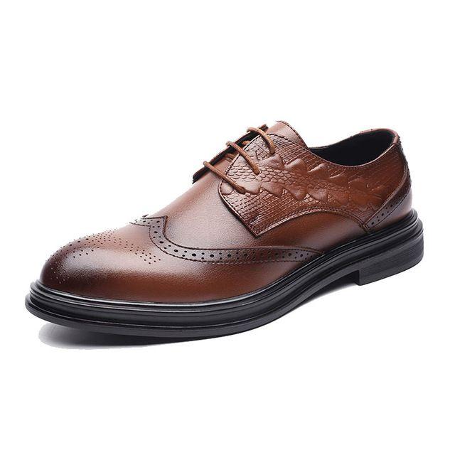 Oxfords de los hombres zapatos de plataforma plana Brogues suela de goma de los hombres zapatos de vestir de cuero artificial de zapatos formales de negocios