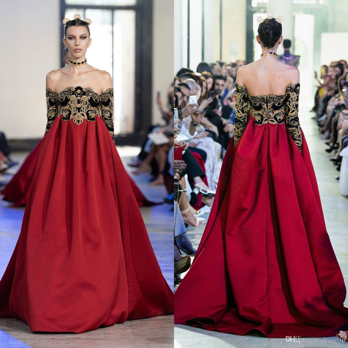 großhandel 2020 elie saab abendkleider mit china elementen weg von der  schulter eine linie langarm abendkleid party tragen perlen pailletten  formale