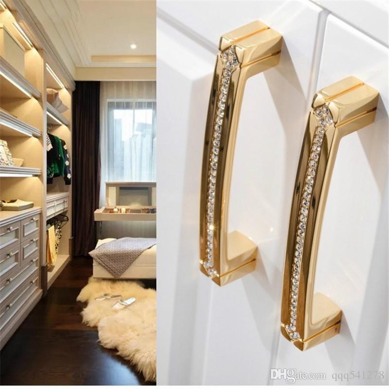 Lüks Kabine Kolları 24 K Gerçek Altın Çek Kristal Çekmece Kapı Kolu Mobilya Kolları Çekin Kolları Asla Fade Altın Krom
